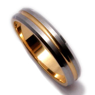 Gold 4.0mm Tungsten Carbide Ring with Groove