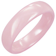 Pink Ceramic Half-round Band Ring