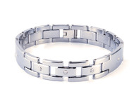 Polished Interlocking 12.0mm Bracelet with Diamonds
