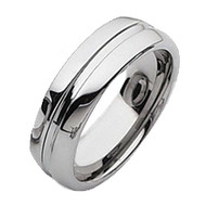 Grooved Tungsten Polished Band