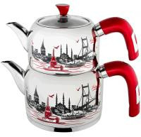 Large Size Istanbul Designed Tea Pot Set. Designs and colors may vary.   - 18/10 Stainless Steel - Long lasting and hardly gets cold by its special bottom that keeps heat. - Energy saver and dishwasher safe.