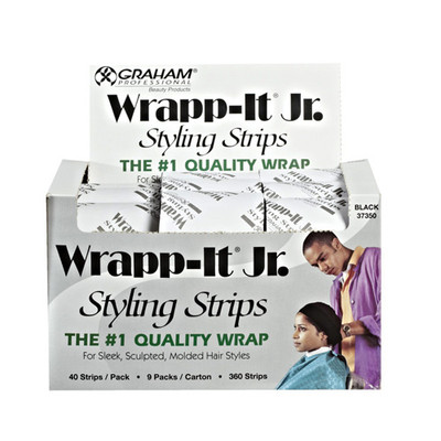 GRAHAM Wrap-It Jr. Styling Strips (Black) 9 Packs of 40 Strips