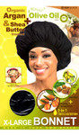 M&M HeadGear Qfitt Organic Argan Oil, Shea Butter & Olive Oil Treated Bonnet X-Large