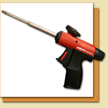 Ergonomic design, two-finger trigger, and large adjustment knob. For use with Hilti CF 810 Crack and Joint Pro Foam and Hilti CF-R1 Cleaner.