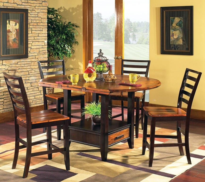 Denver 5 Piece Counter Height Set With Lazy Susan