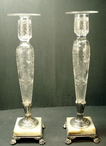 Pair of Regal 1920's Pairpoint Intaglio Etched Candlesticks