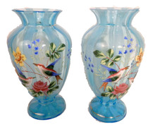 A Pair of  Moser Turquoise Glass Antique Handpainted Vases. 19th Century