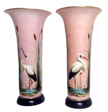 A Pair of Hand Painted French Opaline Vases