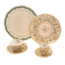 Antique Turquoise & Gold China Service Collections for Tiffany