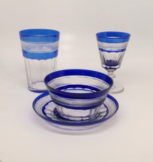 Antique Baccarat Cobalt Blue Crystal 10 Bowls, 10 Plates