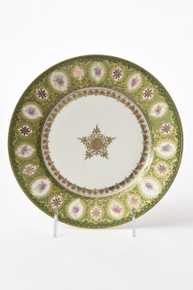 12 Antique Limoges Dessert Plates, Green Pink and Gilt Medallion Center