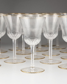 "24 St Louis ""Apollo Gold"" Wine Glasses"