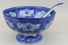 Antique English Flow Blue Punch Bowl with Coordinating Ladle