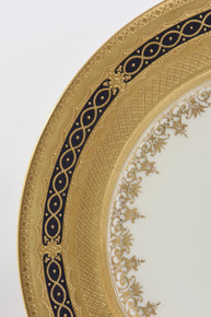 12 Stunning Antique English Cobalt and Gilt Encrusted Dinner Plates
