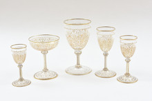 Extensive Antique Gilded Stemware Crystal Service. 56 Pieces, 19th C Moser