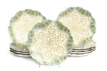 10 Pretty Aqua & Elaborate Gilt Dessert Plates. Antique Austrian. Sold