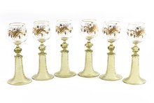 6 Gorgeously Gilded Antique Wine Glasses. Moser With Extra Applied Decoration
