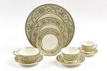 Pretty Green & Gold Dinner Service for 12, Embossed Gilding On Soft Sage Green Color