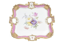 Meissen Pink, Gilt & Hand Painted Tray