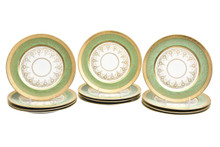 12 Antique Green and Gold Presentation Plates, Circa 1920