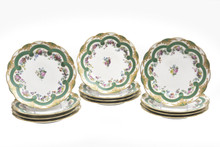 "12 Museum Quality Painted by ""Feuillet"" Circa 1820,  Cabinet or Dessert Plates"