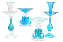 Tall and Impressive Epergne or Centerpiece, Turquoise Blown Glass