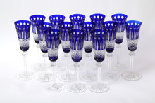 15 Cobalt Champagne Flutes, St Louis Tommy Pattern, SOLD PLEASE INQUIRE FOR SIMIALR