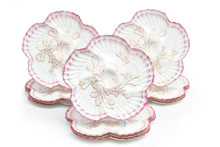 12 Tiffany Antique English Oyster Plates, Great Coral Detail