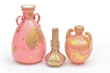 Collection of 19th Century Derby Pink Gilt Encrusted Vases