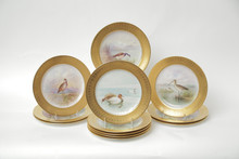 12 Antique Tiffany Gilt Encrusted Hand Painted Game Bird Plates