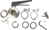 "#AK1T - 6-Bolt Flange Complete Accessory Valve Kit 1.5"" with Tassilini Sample Valve. (Includes VF1, BV3, SV1T)"