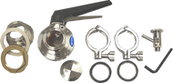 "#AK4T - Bulkhead Complete Accessory Valve Kit 2"", with Tassilini Sample Valve. (Includes BH4, BV4, SV1T)"