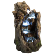 "22"" Walnut Log Indoor/Outdoor Garden Fountain w/LED Lights"