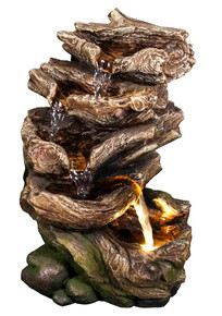 "11"" Forest Glade Log Fountain w/LED Light"