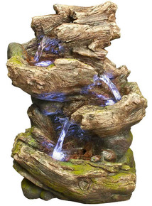 "14"" Olympia Log Fountain w/LED Lights"