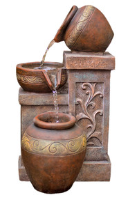 "17"" Photina Terracotta Bowl Fountain w/LED Lights"