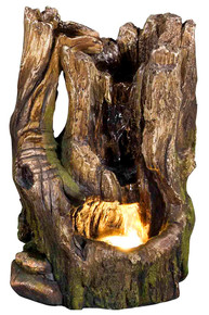 "11"" Cedar Cove Log Fountain w/LED Light"