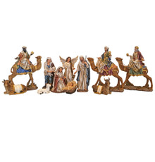 Hand-Painted Christmas Nativity scene featuring Wise Men astride their Camels