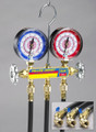 """Heat Pump Manifold With 60"""" black PLUS II hoses (two 1/4"""" x 5/16"""" ball valve and one 1/4"""" x 1/4"""" ball valve, R-410A, °C"""