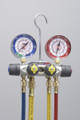 """TITAN™ 4-Valve Test and Charging Manifold With 60"""" PLUS II™ compact ball valve RYB and 3/8"""" x 40°, R/B gauges, bar/psi, R410A - °F"""