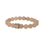 Peach stone beaded stretch bracelet.