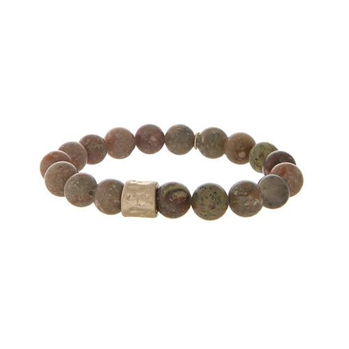 Brown stone beaded stretch bracelet