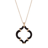 "29"" Gold tone necklace with a black thread wrapped quatrefoil pendant."