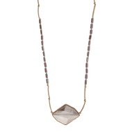 "Gold tone necklace displaying pale purple and turquoise beads with a gray stone pendant. Approximately 32"" in length."