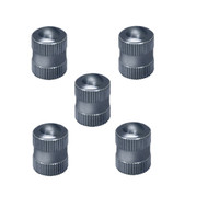 Blackjack Chrome Metal 5-Pc Tire Valve Stem Cap W/Seal Set