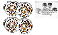 "TRANS AM 17x9 INCH ""WS6 STYLE"" SNOWFLAKE WHEEL, CENTER CAP & LUG NUT SET"