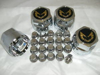1976 1981 TRANS AM SNOWFLAKE WHEEL CENTER CAP & LUG NUT SET GOLD