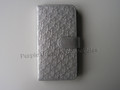 Swanflower Grey Silver Leather Bookcase Phone Case for Samsung Galaxy S4