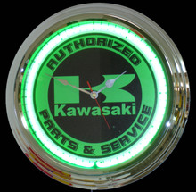 Kawasaki Motorcycle Parts & Service Neon Clock