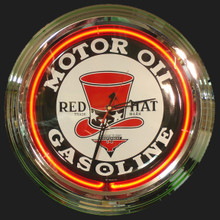 Red Hat Gasoline Neon Clock